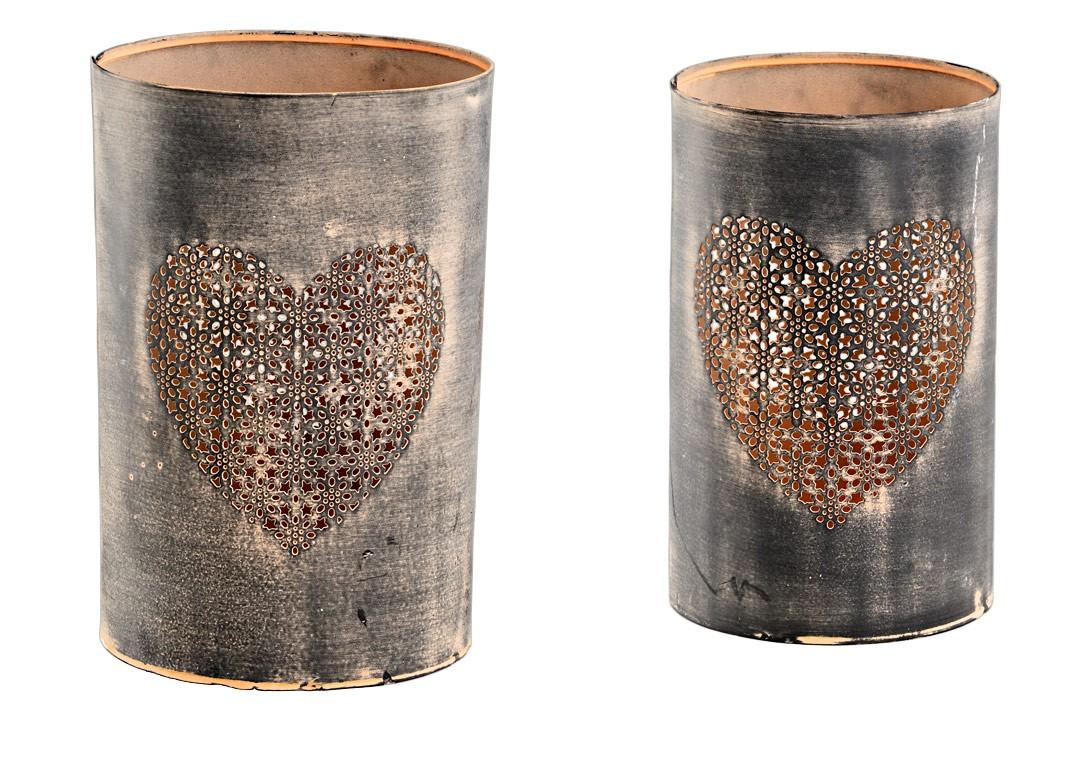 metall windlicht mit herz shabby vintage in braun h 21cm 24cm 2er set. Black Bedroom Furniture Sets. Home Design Ideas