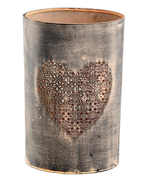 Metall Windlicht Mit Herz Shabby Vintage In Braun H 21cm