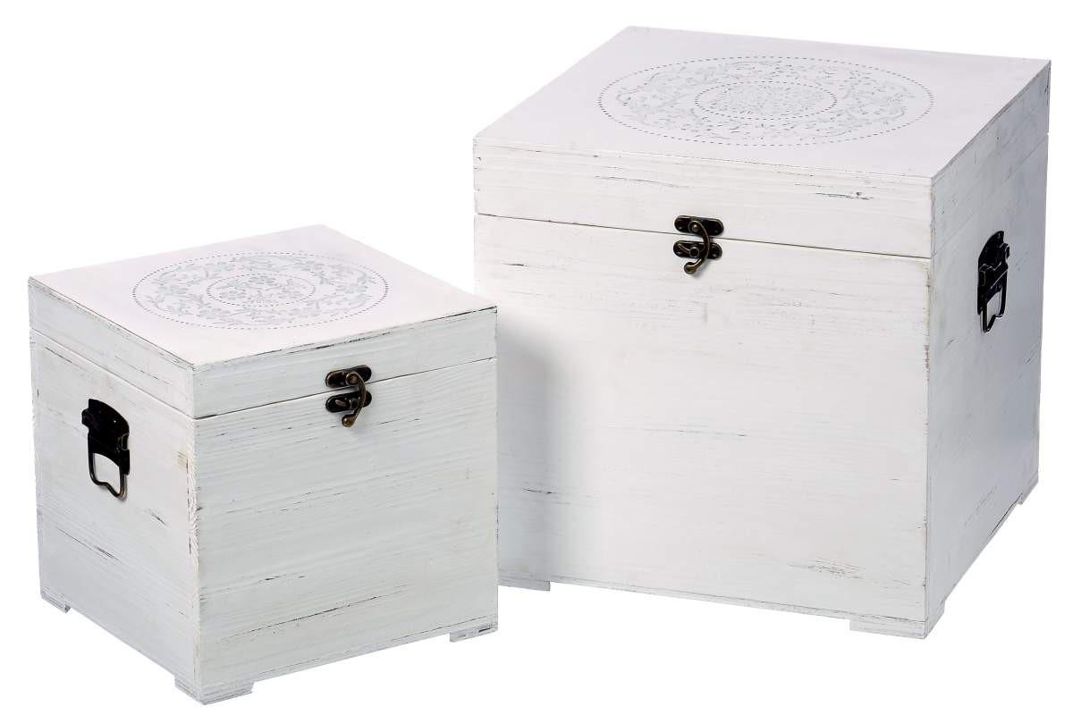 holzkiste ornament landhaus antike aufbewahrungsbox shabby landhaus truhe wei. Black Bedroom Furniture Sets. Home Design Ideas