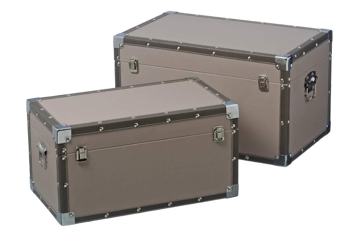 aufbewahrungsbox truhe holzkiste im vintage koffer design grau braun. Black Bedroom Furniture Sets. Home Design Ideas