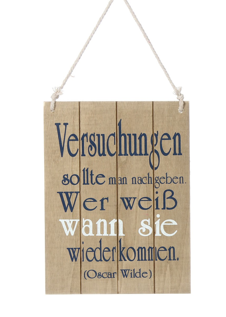 holzschild mit spruch versuchungen in beige shabby chic wandbild. Black Bedroom Furniture Sets. Home Design Ideas