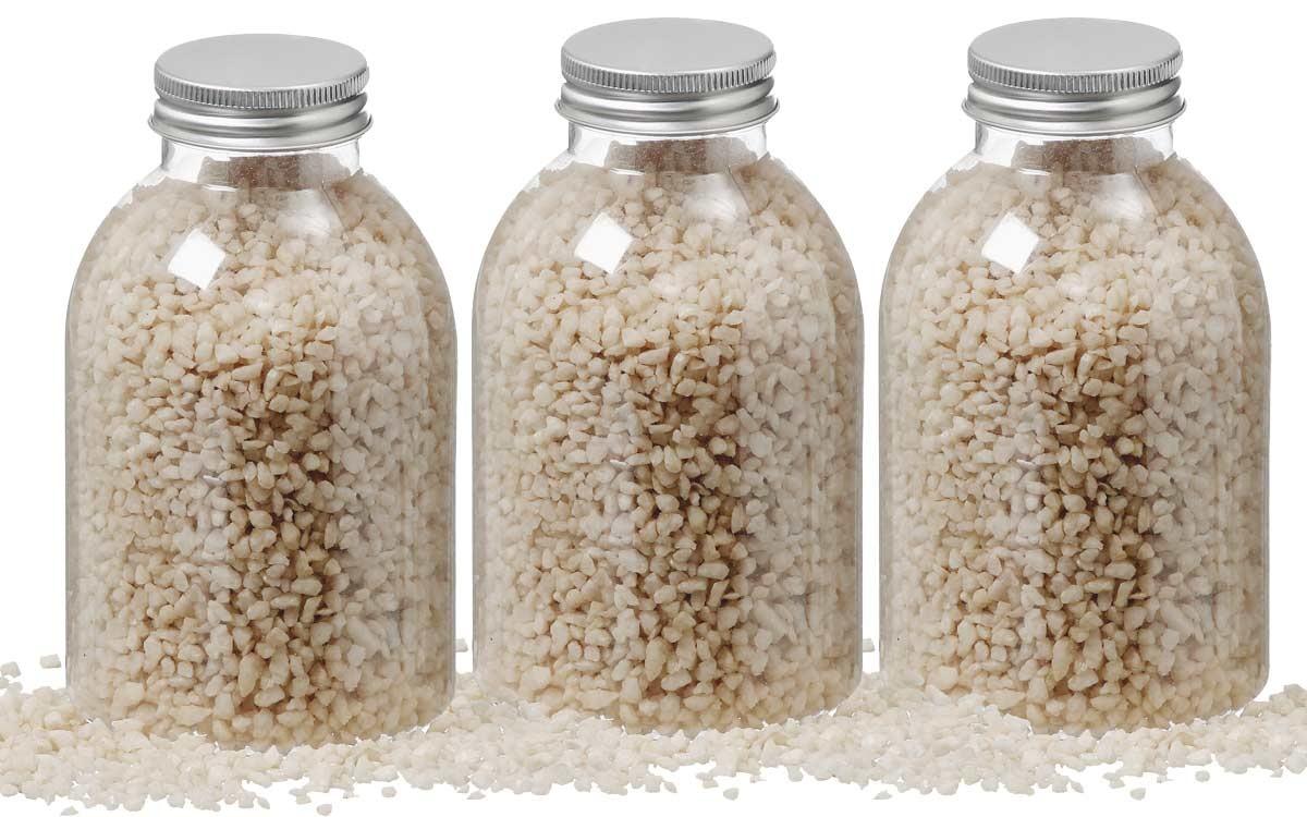 3 flaschen deko sand stein granulat farbe champagner. Black Bedroom Furniture Sets. Home Design Ideas