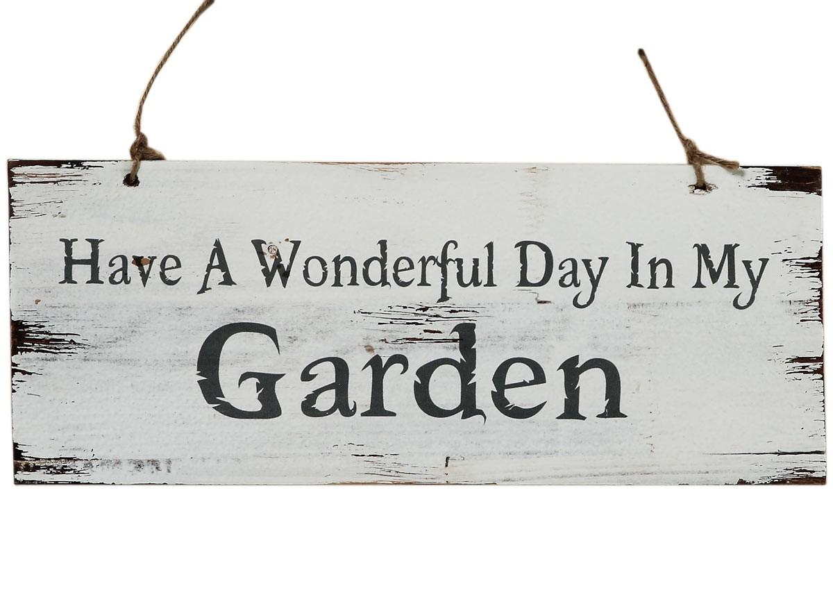 holzschild wonderfull day in garden garten shabby landhausstil schild grau. Black Bedroom Furniture Sets. Home Design Ideas
