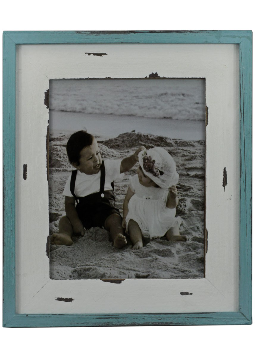 Fotorahmen Shabby Chic Holz bilderrahmen 31x36cm petrol/weiß pastell