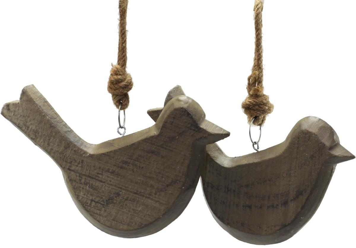 deko h nger holzvogel mit kordel fensterh nger 2er set. Black Bedroom Furniture Sets. Home Design Ideas