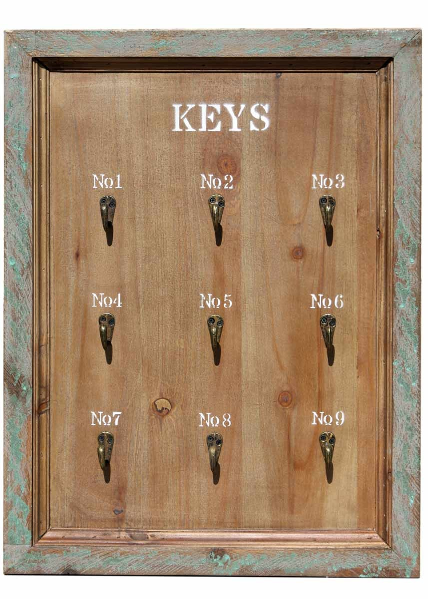 schl sselbrett keys 9 haken landhaus holz shabby chic antik braun. Black Bedroom Furniture Sets. Home Design Ideas
