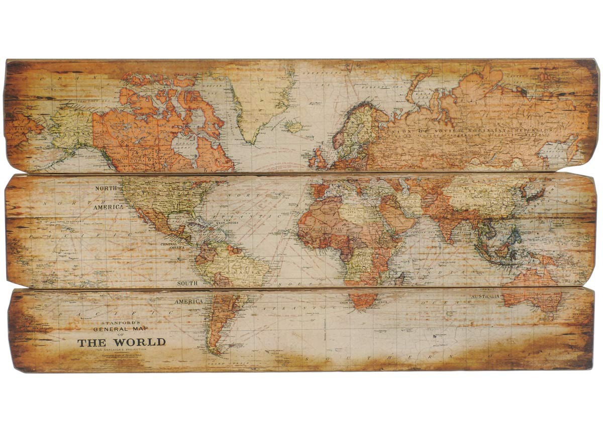 Antike Laternen : Holzschild antike Weltkarte XL Wandbild