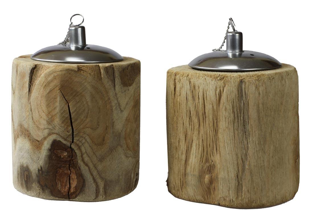 tischfeuer rustik l lampe aus holz landhausstil windlicht in astoptik 2er set. Black Bedroom Furniture Sets. Home Design Ideas