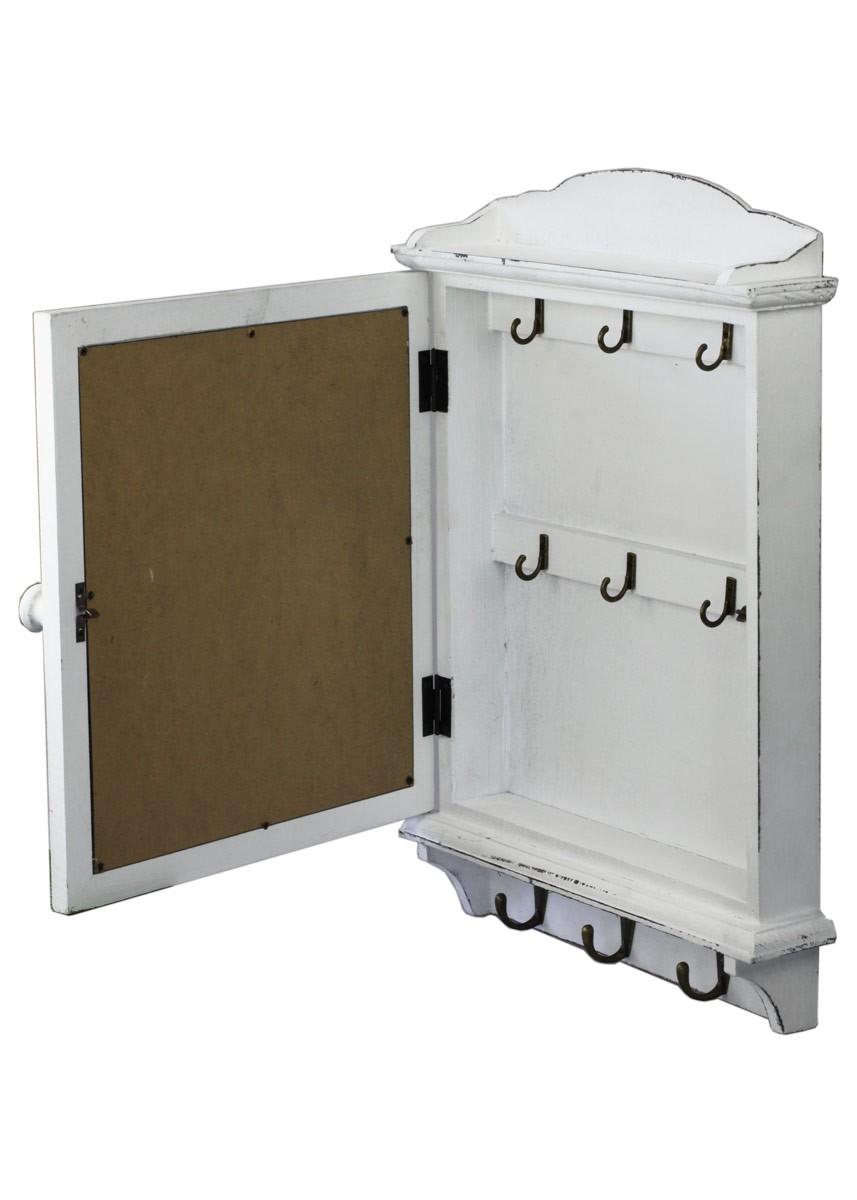 clayre eef schl sselkasten memotafel und wandgarderobe landhausstil wei. Black Bedroom Furniture Sets. Home Design Ideas