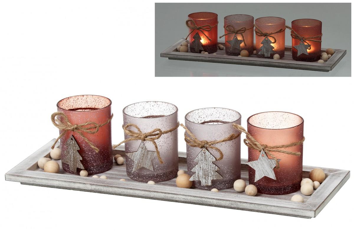 windlichtset advent 5tlg glas teelichthalter mit dekoteller. Black Bedroom Furniture Sets. Home Design Ideas