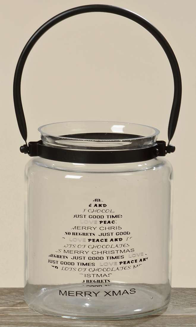glas windlicht merry xmas windlichtglas teelichthalter mit henkel motiv tanne. Black Bedroom Furniture Sets. Home Design Ideas