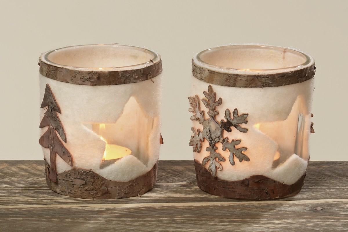 glas teelicht stern mit rinde und filz verkleidet teelicht 2er set. Black Bedroom Furniture Sets. Home Design Ideas