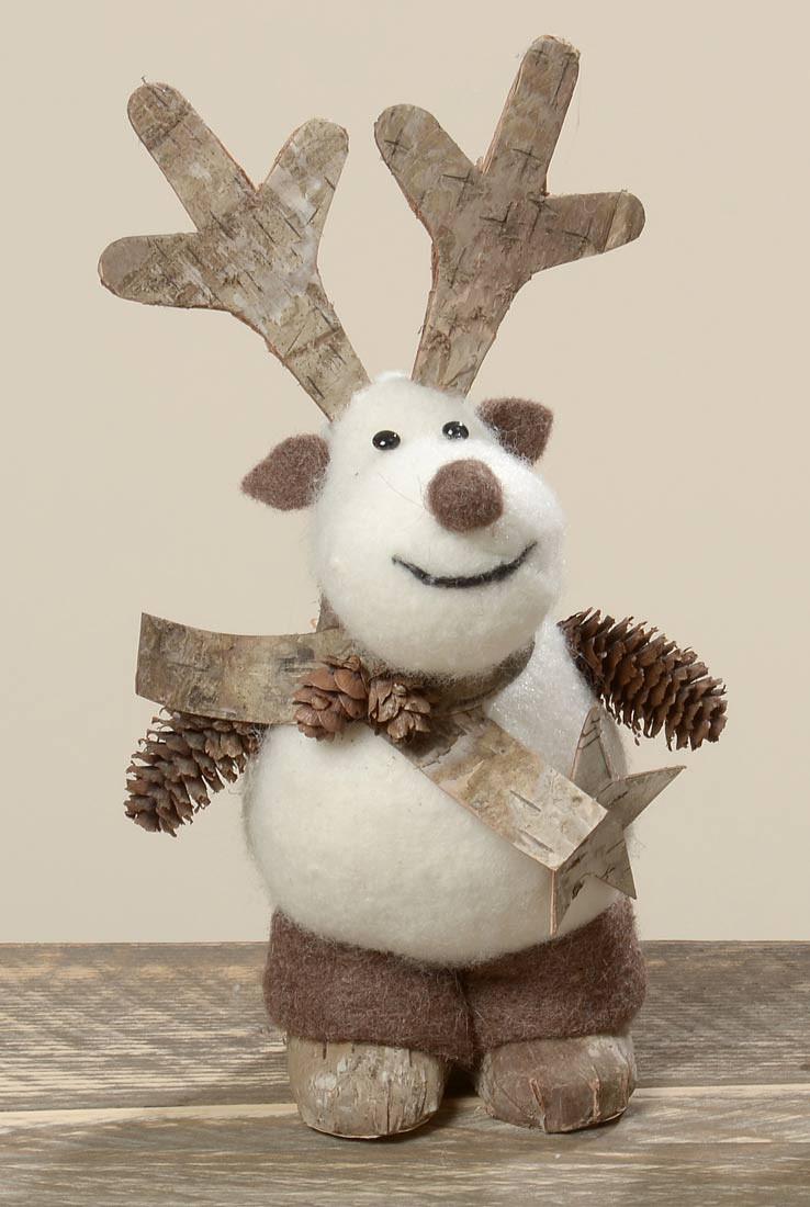 deko figur hirsch aus filz und rinde weihnachts dekoration h 21cm. Black Bedroom Furniture Sets. Home Design Ideas