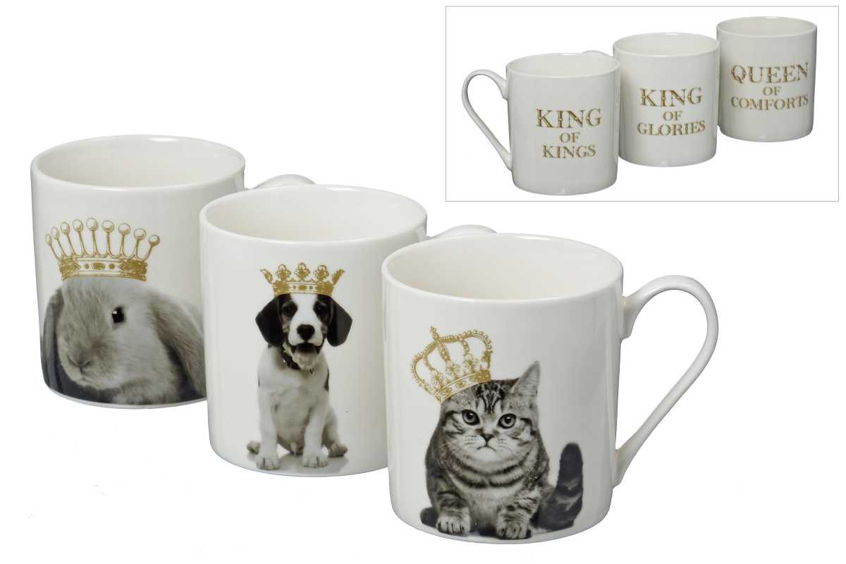 kaffeetasse animal kings porzellan tasse becher 3er set. Black Bedroom Furniture Sets. Home Design Ideas