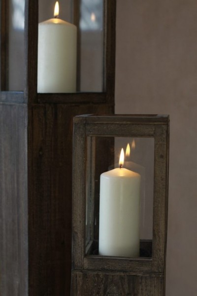 windlicht s ule rustica holz gewachst 3er set. Black Bedroom Furniture Sets. Home Design Ideas