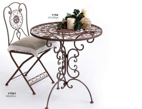 nostalgischer tisch tecla metall gartentisch d 70 cm. Black Bedroom Furniture Sets. Home Design Ideas