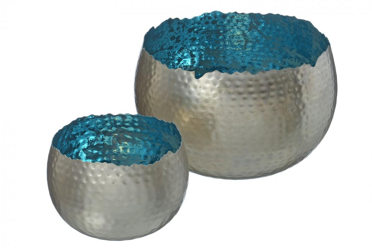 windlicht suri teelichthalter metall windlicht in blau silber 2 gr en. Black Bedroom Furniture Sets. Home Design Ideas
