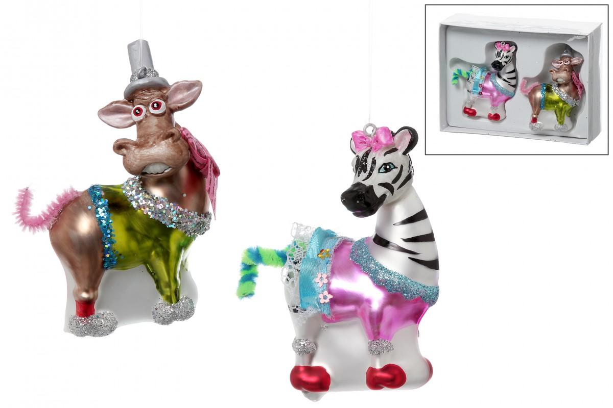 christbaum schmuck h nger zebra esel aus glas baumbehang 2er set. Black Bedroom Furniture Sets. Home Design Ideas