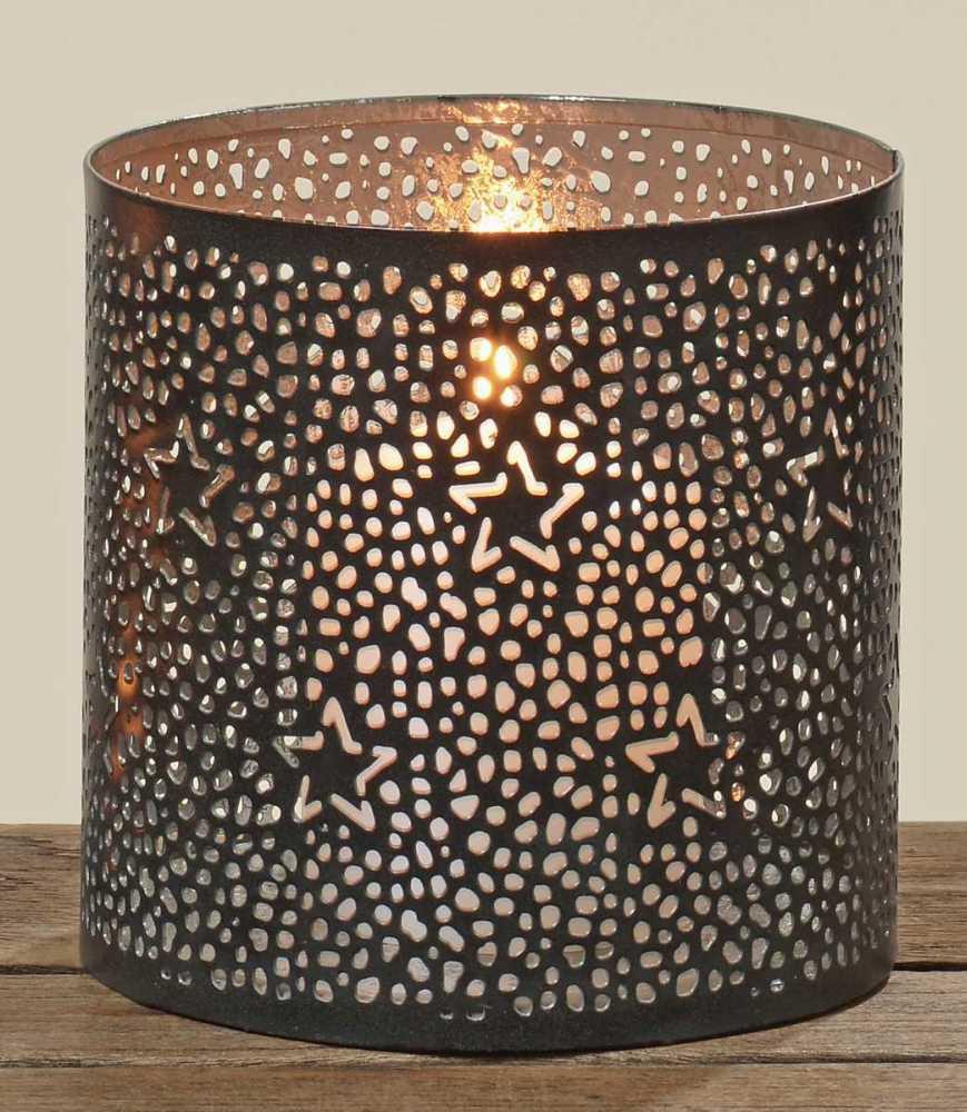 weihnachtliches metall windlicht sterne teelichthalter kerzenhalter schwarz gold ebay. Black Bedroom Furniture Sets. Home Design Ideas