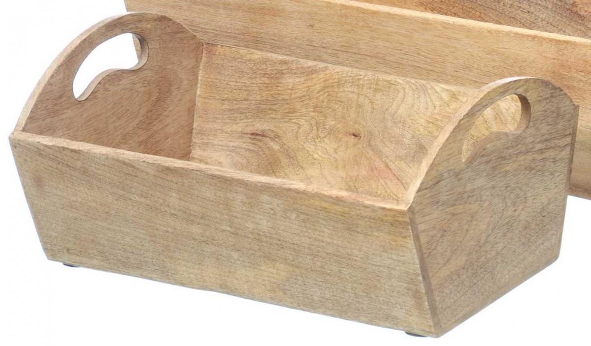 Holz korb raj landhaus holzschale deko pflanzkorb in braun for Korb deko