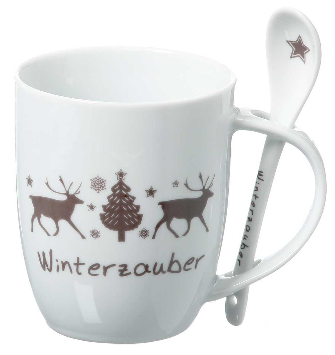 kaffeetasse winter porzellantasse mit l ffel in 2 ausf hrungen. Black Bedroom Furniture Sets. Home Design Ideas