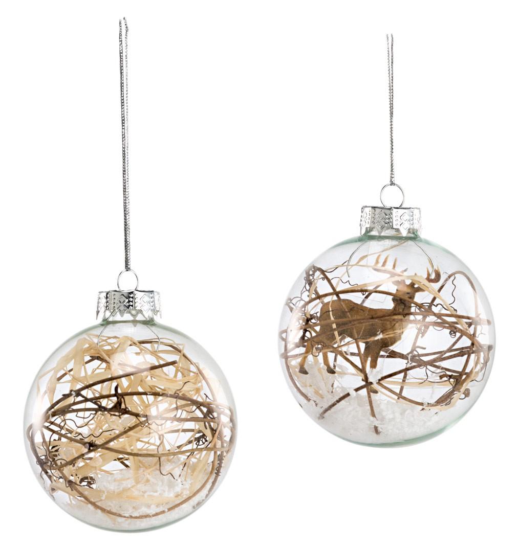 weihnachts h nger glaskugel mit rentier und sten baumschmuck 2er set. Black Bedroom Furniture Sets. Home Design Ideas