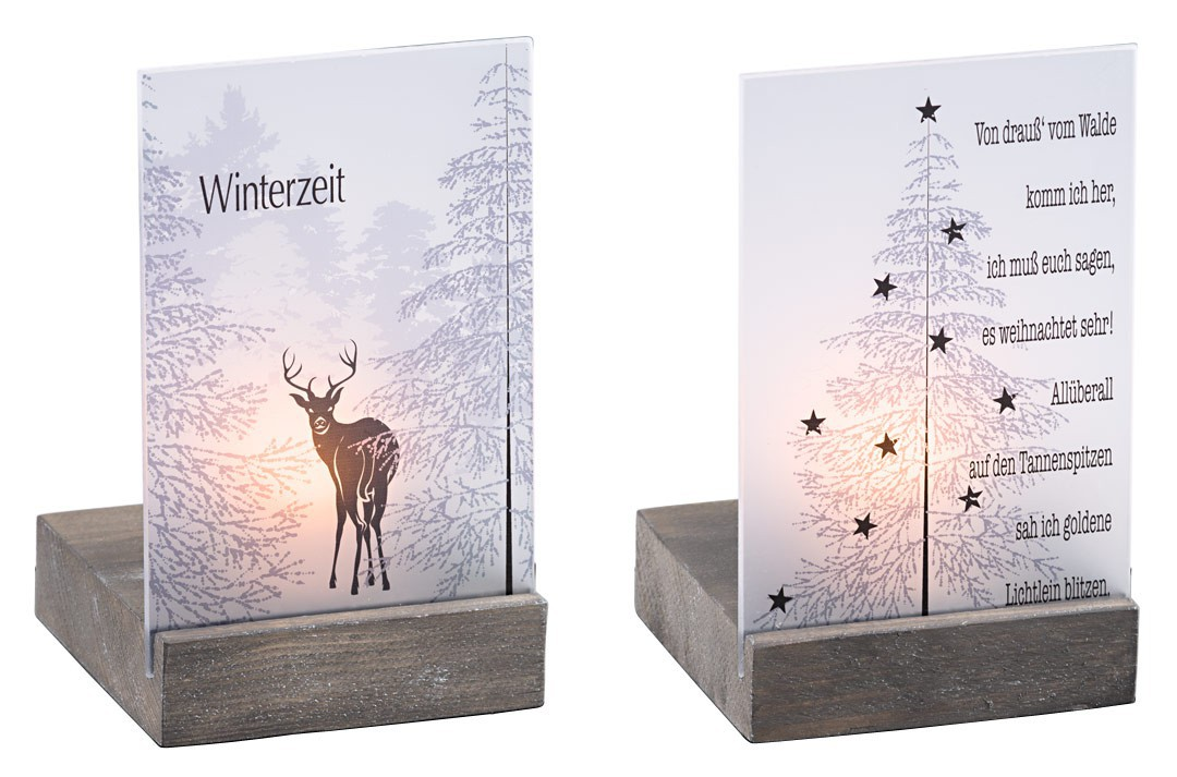 teelicht hirsch winterzeit glasplatte auf holzsockel teelichthalter. Black Bedroom Furniture Sets. Home Design Ideas
