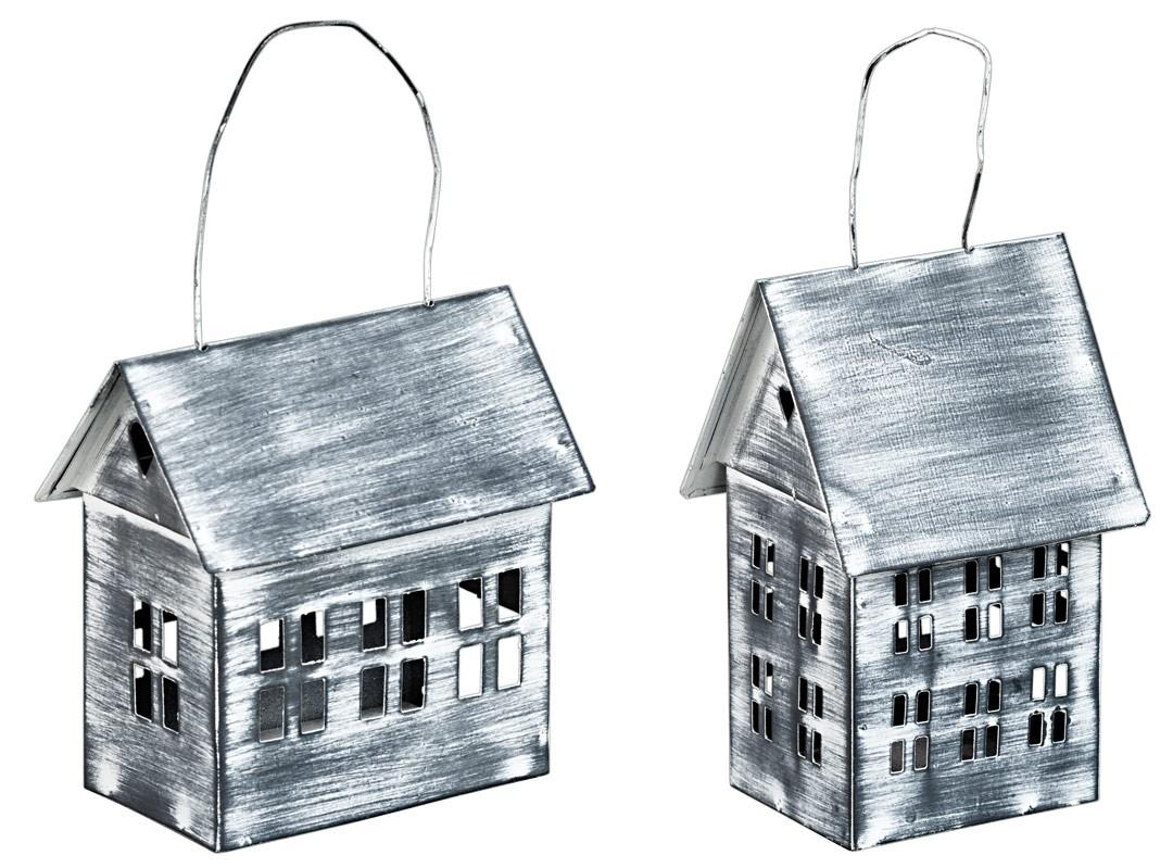 metall windlicht haus zum h ngen in grau teelichthalter 2er set. Black Bedroom Furniture Sets. Home Design Ideas