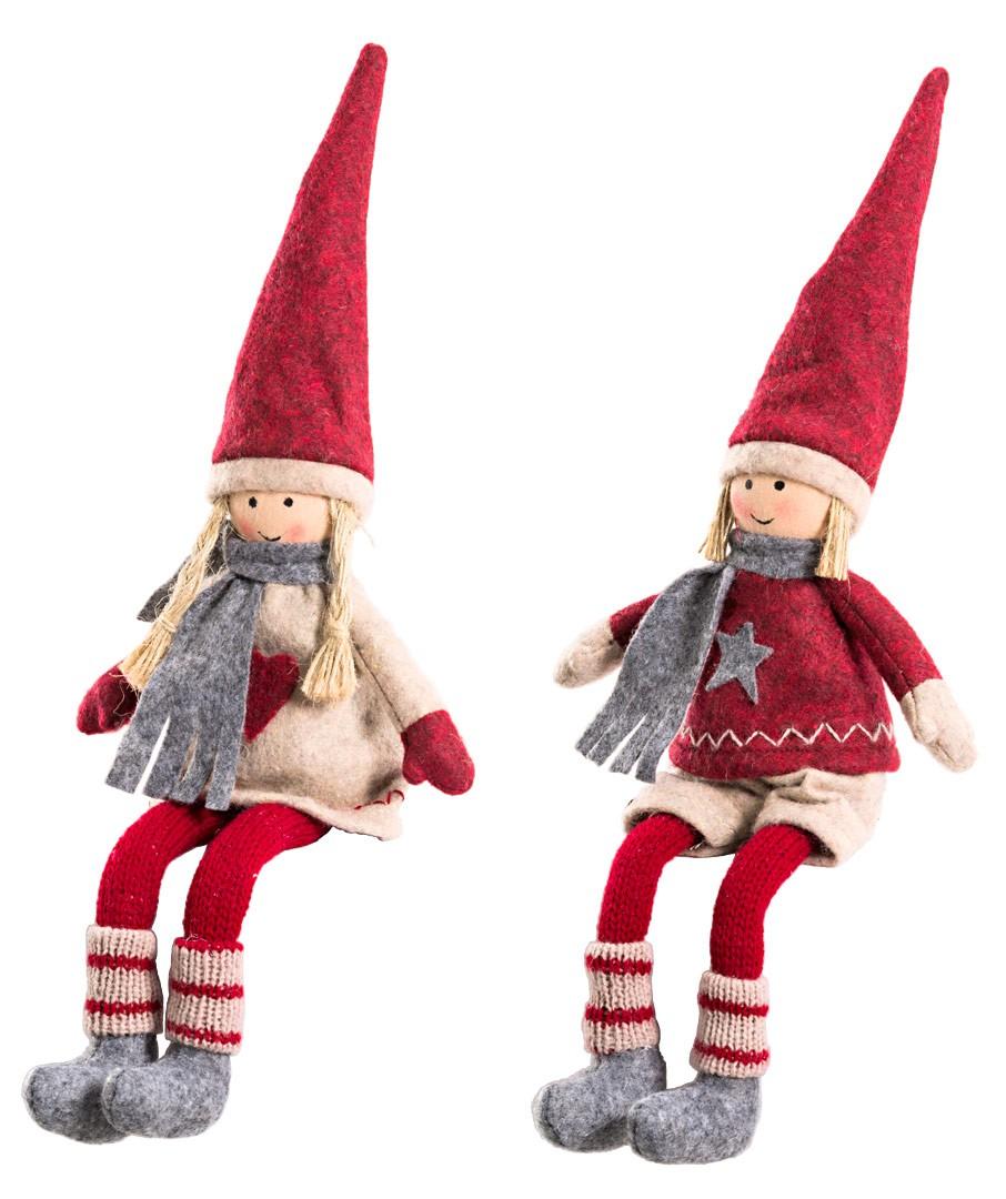 Winterliche deko figur stoff p ppchen kantenhocker in rot for Figuren gartendekoration