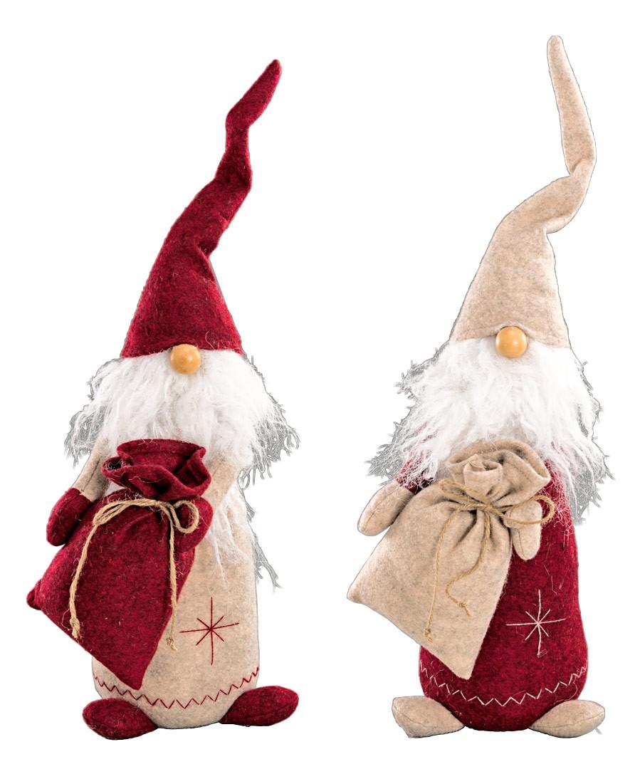 Stoffwichtel mit sack stehend in rot beige weihnachtsdeko h 28cm - Weihnachtsdeko rot ...