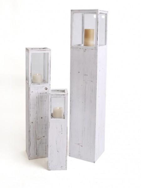 Windlicht s ule rustica landhaus impressionen 3er set wei for Gartendekoration landhausstil