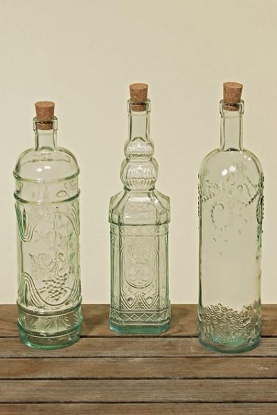 Nostalgische glas flaschen 3er set landhaus for Nostalgische gartendekoration