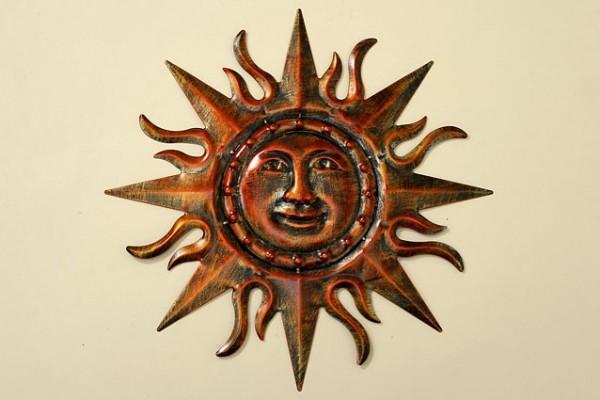 Antike wanddeko relief sonne kupferfarben - Sonne wanddeko ...