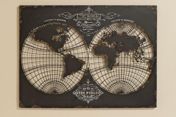 Wandbild weltkarte the world metall 100x70 - Metall wandbilder ...