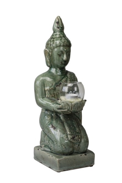 buddha figur skulptur gartenfigur dekofigur m windlicht hellgr n. Black Bedroom Furniture Sets. Home Design Ideas